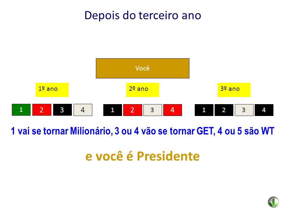 Você 1 2 4 3 1º ano 2314 3º ano 1 vai se tornar Milionário, 3 ou 4 vão se tornar GET, 4 ou 5 são WT 2 31 4 2º ano e você é Presidente Você Depois do t