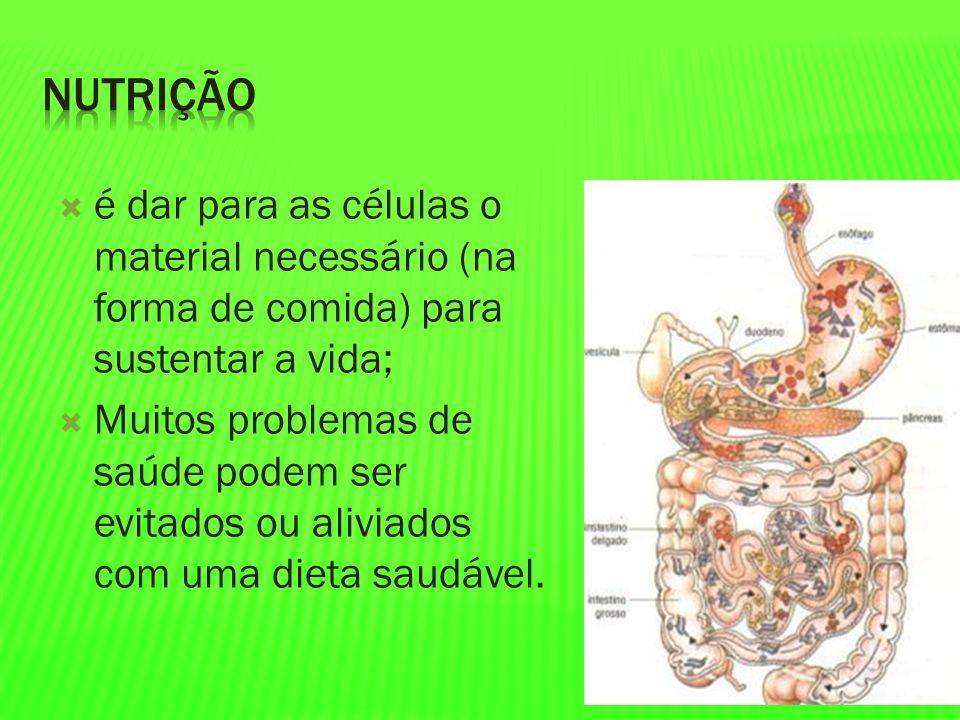 é dar para as células o material necessário (na forma de comida) para sustentar a vida; Muitos problemas de saúde podem ser evitados ou aliviados com