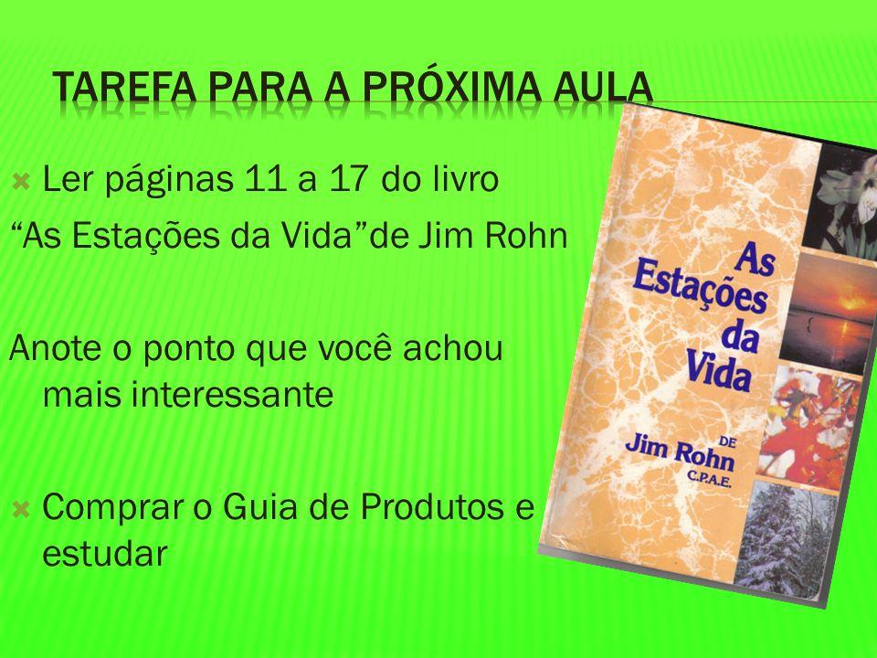 Ler páginas 11 a 17 do livro As Estações da Vidade Jim Rohn Anote o ponto que você achou mais interessante Comprar o Guia de Produtos e estudar