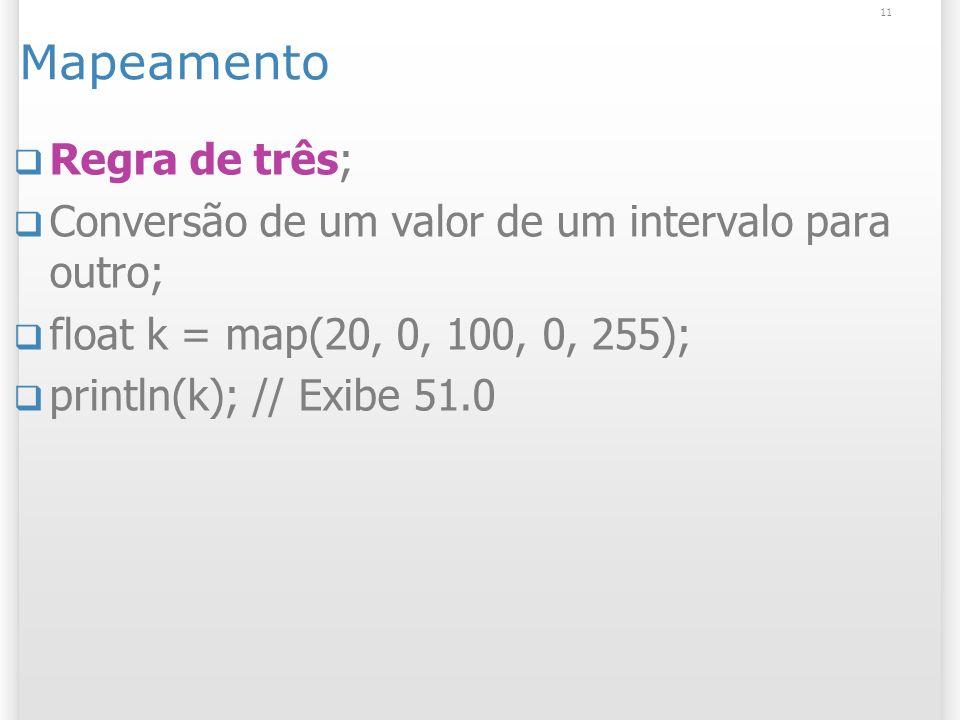 11 Mapeamento Regra de três; Conversão de um valor de um intervalo para outro; float k = map(20, 0, 100, 0, 255); println(k); // Exibe 51.0
