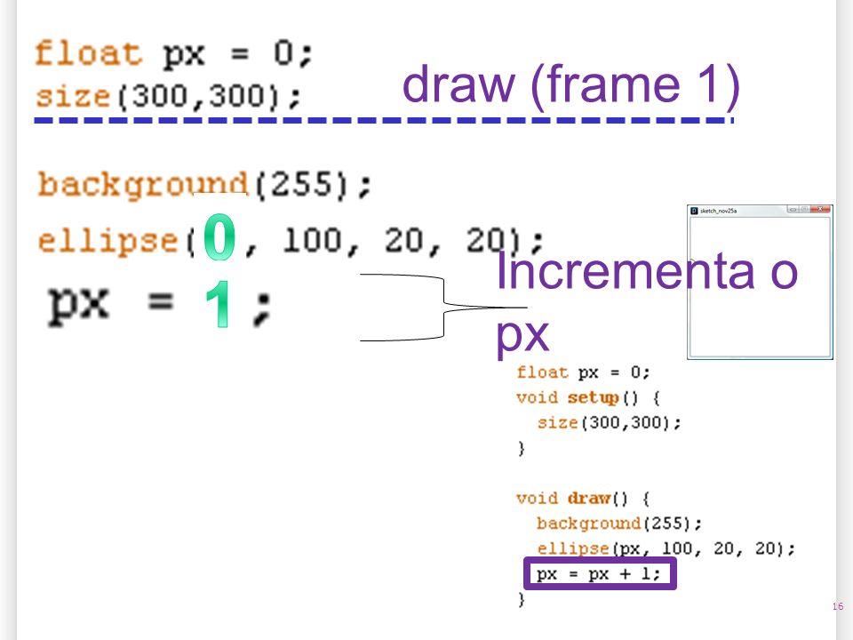 16 draw (frame 1) Incrementa o px