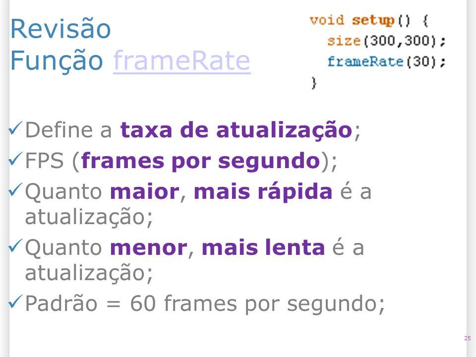 Revisão Função frameRateframeRate 25 Define a taxa de atualização; FPS (frames por segundo); Quanto maior, mais rápida é a atualização; Quanto menor,