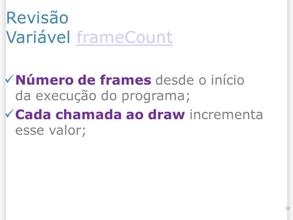 Revisão Variável frameCountframeCount 28 Número de frames desde o início da execução do programa; Cada chamada ao draw incrementa esse valor;