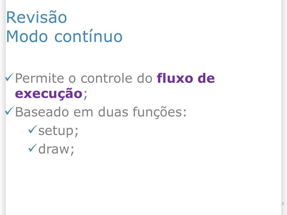 Revisão Modo contínuo 3 Permite o controle do fluxo de execução; Baseado em duas funções: setup; draw;