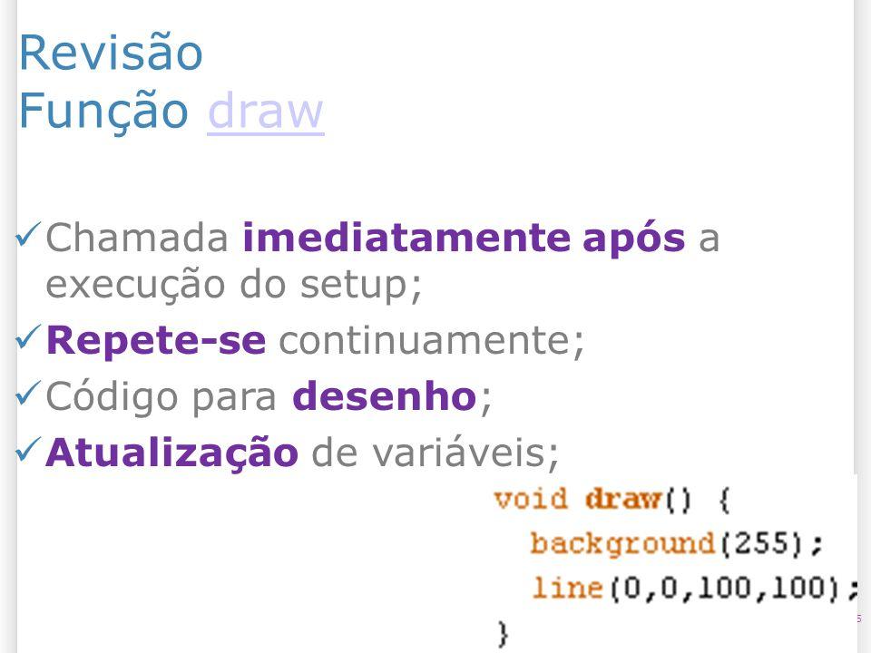 Revisão Função drawdraw 5 Chamada imediatamente após a execução do setup; Repete-se continuamente; Código para desenho; Atualização de variáveis;