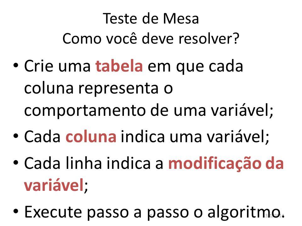 Teste de Mesa Como você deve resolver? 113/1/2014 Crie uma tabela em que cada coluna representa o comportamento de uma variável; Cada coluna indica um