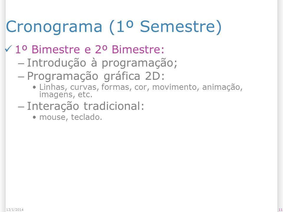 1113/1/2014 Cronograma (1º Semestre) 1º Bimestre e 2º Bimestre: – Introdução à programação; – Programação gráfica 2D: Linhas, curvas, formas, cor, movimento, animação, imagens, etc.