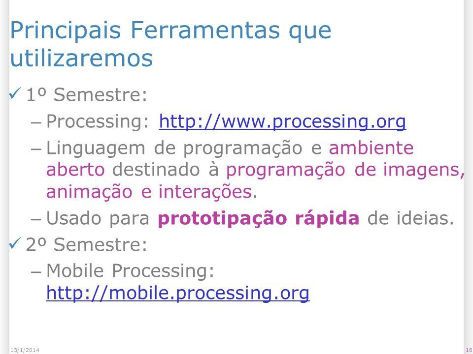 1613/1/2014 Principais Ferramentas que utilizaremos 1º Semestre: – Processing: http://www.processing.orghttp://www.processing.org – Linguagem de programação e ambiente aberto destinado à programação de imagens, animação e interações.