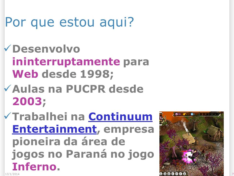 1813/1/2014 Bibliografia Material entregue em sala; Web Sites: – http://www.processing.org http://www.processing.org – http://www.dainf.cefetpr.br/~mer kle/processing/reference/ptBR/ind ex.html http://www.dainf.cefetpr.br/~mer kle/processing/reference/ptBR/ind ex.html –...