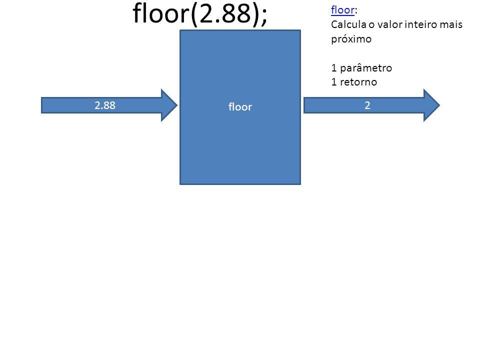 floor 2.88 floor(2.88); 2 floorfloor: Calcula o valor inteiro mais próximo 1 parâmetro 1 retorno