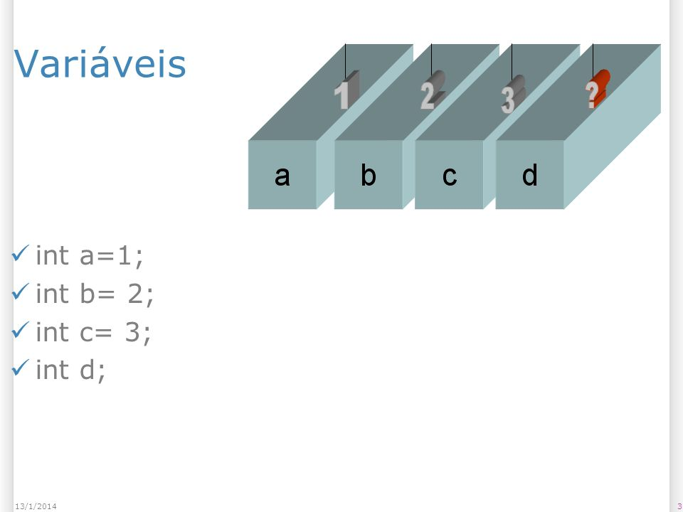Letra b) Variável largura float largura = 100.0; rect(10,10,largura,10); largura = largura * 2; rect(10,10,largura,10); largura = largura * 2; rect(10,10,largura,10); 2413/1/2014