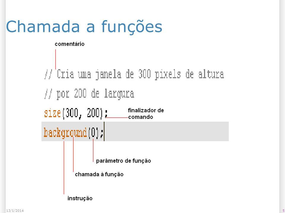 Existem diferentes tipos de funções Sem parâmetro: – noStroke(); – noFill(); Com parâmetros: – rect(10,10,20,30); Com retorno: – max(20,30); Podem ter efeitos colaterais; 613/1/2014