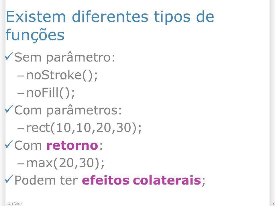 Existem diferentes tipos de funções Sem parâmetro: – noStroke(); – noFill(); Com parâmetros: – rect(10,10,20,30); Com retorno: – max(20,30); Podem ter