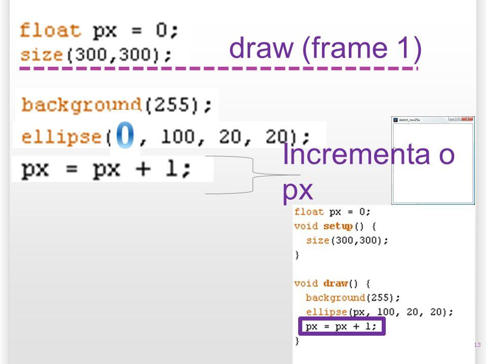 13 draw (frame 1) Incrementa o px