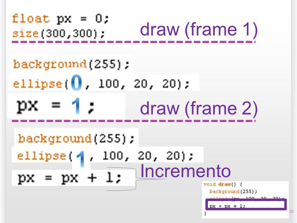 20 draw (frame 1) draw (frame 2) Incremento