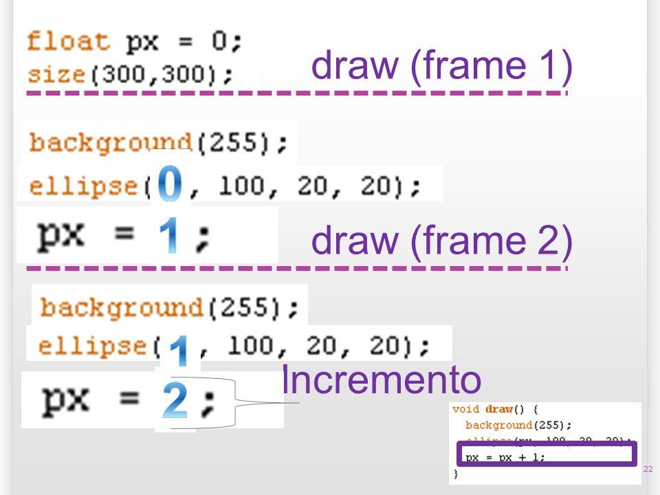 22 draw (frame 1) draw (frame 2) Incremento