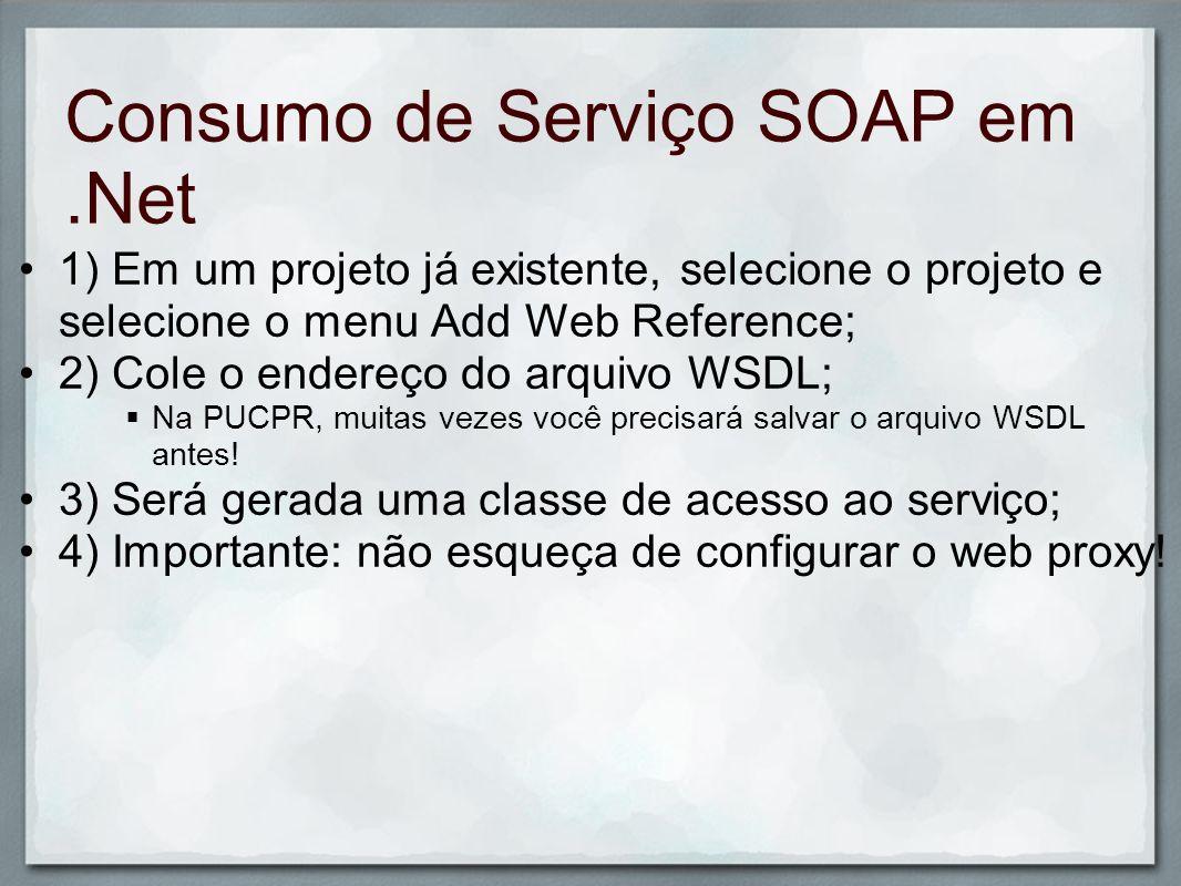 Exercício de Fixação Faça um programa que faça uma busca no Google e retorne a popularidade de um termo; Define-se a popularidade como o número de vezes que o termo aparece na base do Google; A documentação para este serviço está disponível em: o http://code.google.com/apis/soapsearch/reference.html http://code.google.com/apis/soapsearch/reference.html Neste Guia, estamos fazendo o código para Windows Forms; Se possível, crie seu código para ASP.NET.