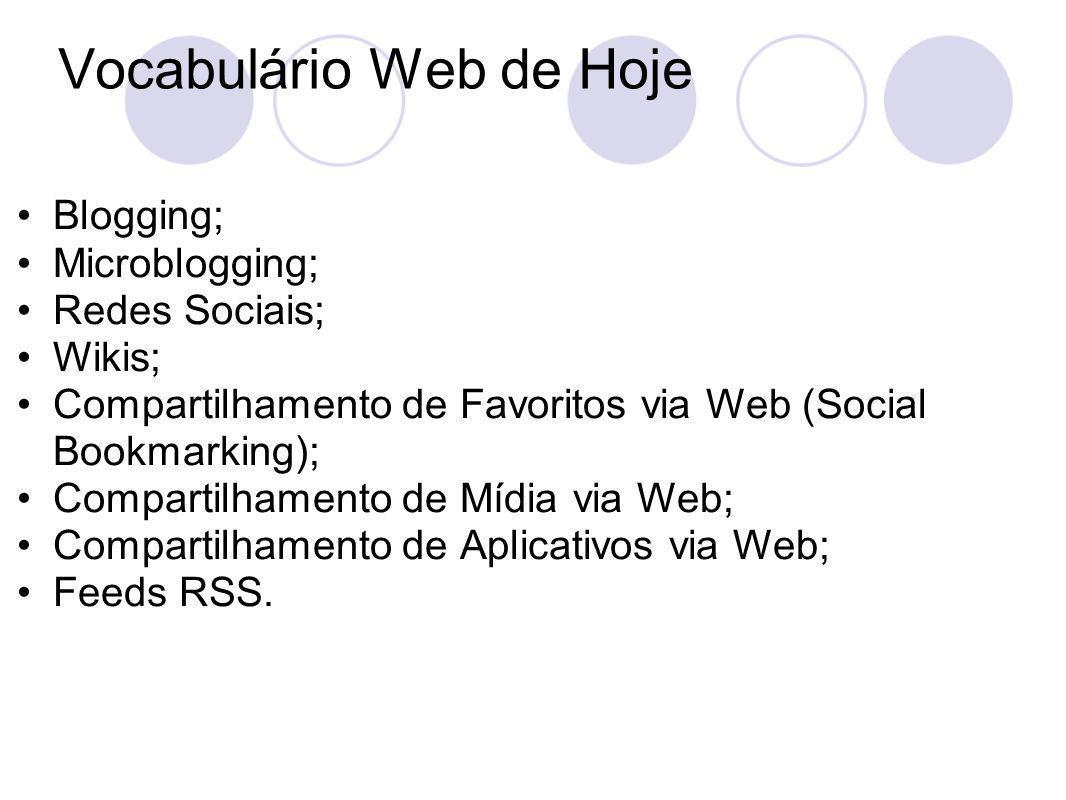 Vocabulário Web de Hoje Blogging; Microblogging; Redes Sociais; Wikis; Compartilhamento de Favoritos via Web (Social Bookmarking); Compartilhamento de