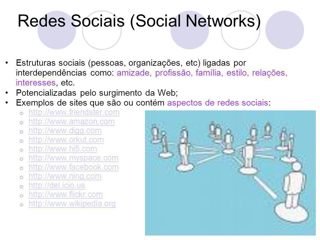 Redes Sociais (Social Networks) Estruturas sociais (pessoas, organizações, etc) ligadas por interdependências como: amizade, profissão, família, estilo, relações, interesses, etc.