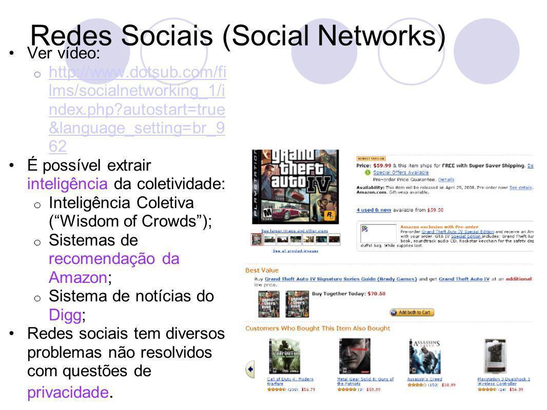 Redes Sociais (Social Networks) Ver vídeo: o http://www.dotsub.com/fi lms/socialnetworking_1/i ndex.php autostart=true &language_setting=br_9 62 http://www.dotsub.com/fi lms/socialnetworking_1/i ndex.php autostart=true &language_setting=br_9 62 É possível extrair inteligência da coletividade: o Inteligência Coletiva (Wisdom of Crowds); o Sistemas de recomendação da Amazon; o Sistema de notícias do Digg; Redes sociais tem diversos problemas não resolvidos com questões de privacidade.