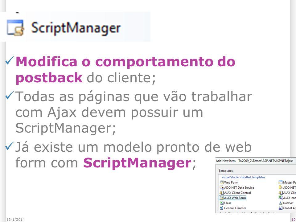 ScriptManager Modifica o comportamento do postback do cliente; Todas as páginas que vão trabalhar com Ajax devem possuir um ScriptManager; Já existe um modelo pronto de web form com ScriptManager; 1013/1/2014
