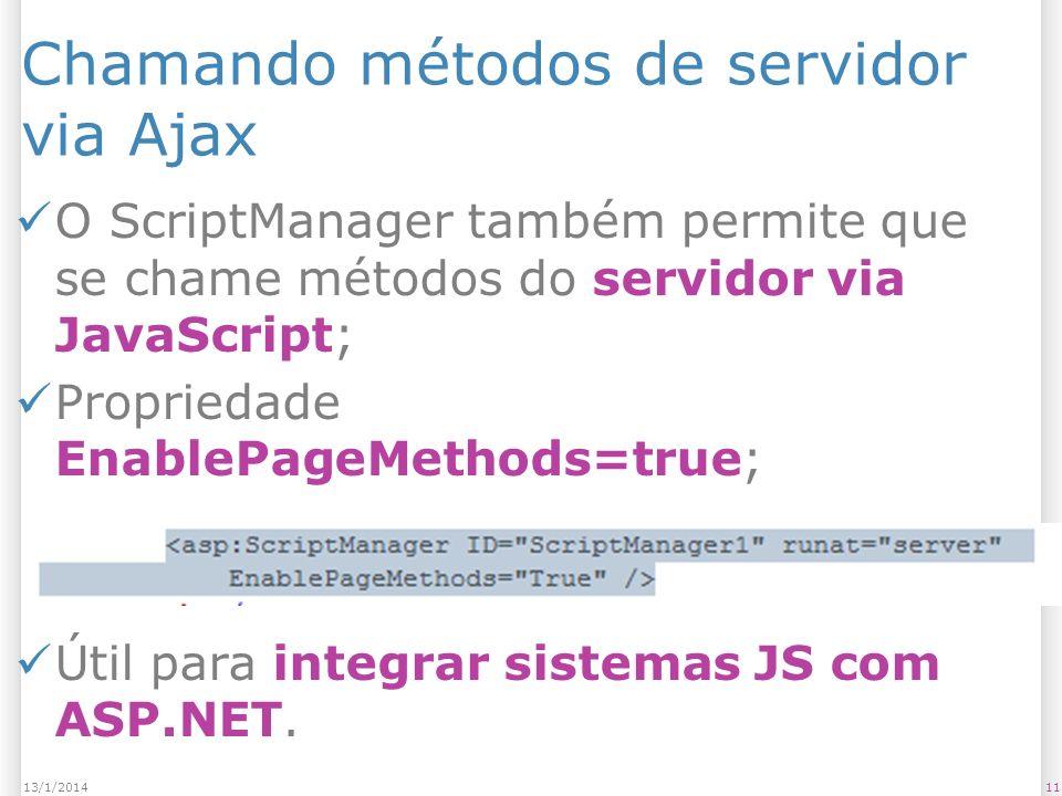 Chamando métodos de servidor via Ajax O ScriptManager também permite que se chame métodos do servidor via JavaScript; Propriedade EnablePageMethods=tr