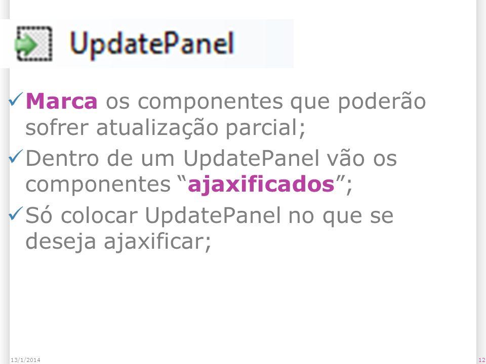 UpdatePanel Marca os componentes que poderão sofrer atualização parcial; Dentro de um UpdatePanel vão os componentes ajaxificados; Só colocar UpdatePanel no que se deseja ajaxificar; 1213/1/2014