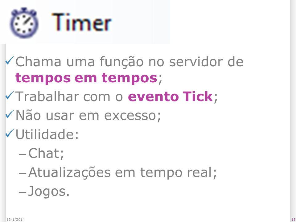 Timer Chama uma função no servidor de tempos em tempos; Trabalhar com o evento Tick; Não usar em excesso; Utilidade: – Chat; – Atualizações em tempo real; – Jogos.