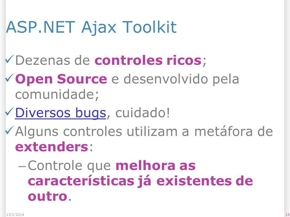 ASP.NET Ajax Toolkit Dezenas de controles ricos; Open Source e desenvolvido pela comunidade; Diversos bugs, cuidado! Diversos bugs Alguns controles ut