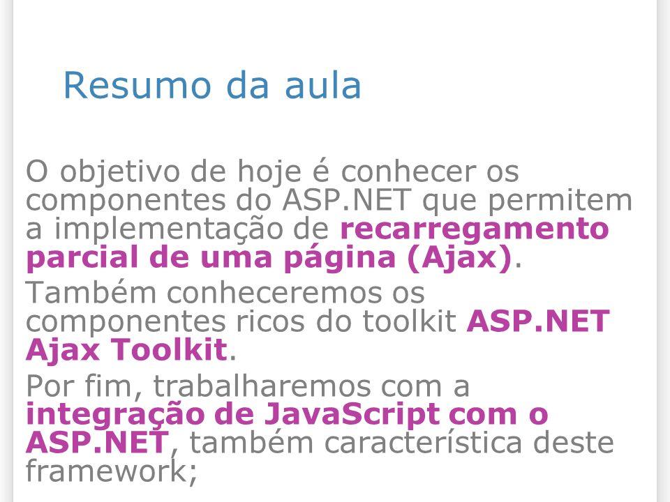 Resumo da aula O objetivo de hoje é conhecer os componentes do ASP.NET que permitem a implementação de recarregamento parcial de uma página (Ajax). Ta