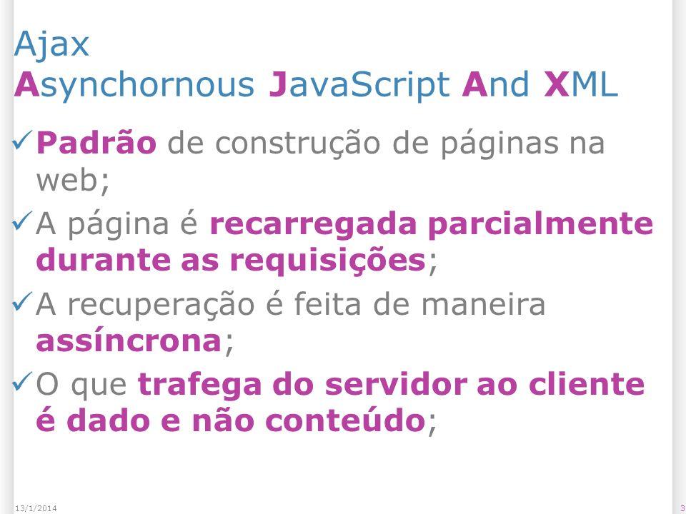 Ajax Asynchornous JavaScript And XML Padrão de construção de páginas na web; A página é recarregada parcialmente durante as requisições; A recuperação é feita de maneira assíncrona; O que trafega do servidor ao cliente é dado e não conteúdo; 313/1/2014