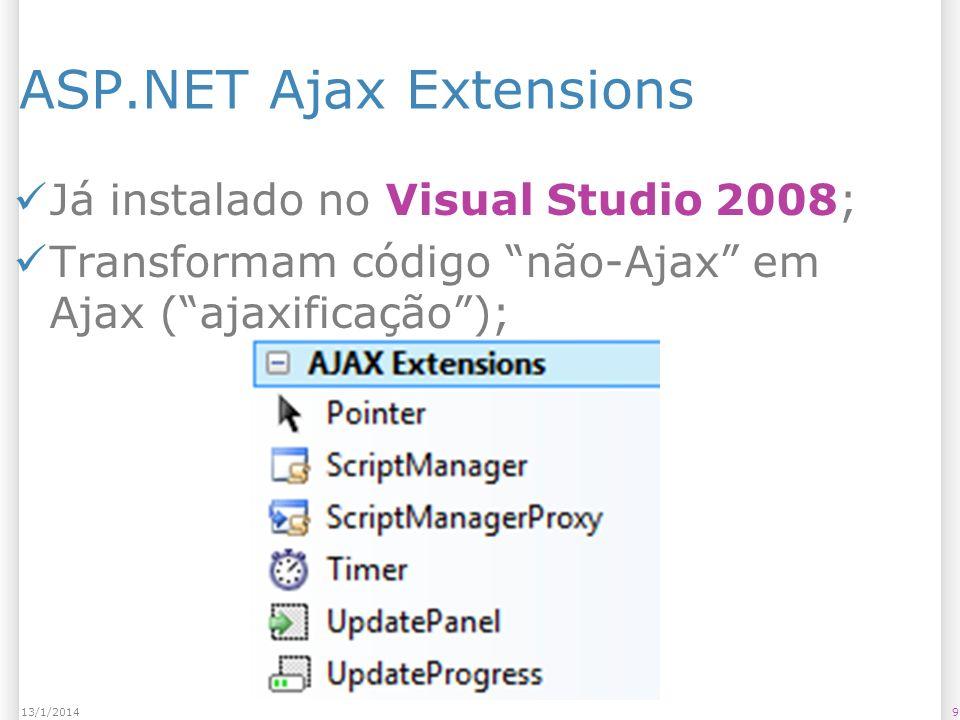 ASP.NET Ajax Extensions Já instalado no Visual Studio 2008; Transformam código não-Ajax em Ajax (ajaxificação); 913/1/2014