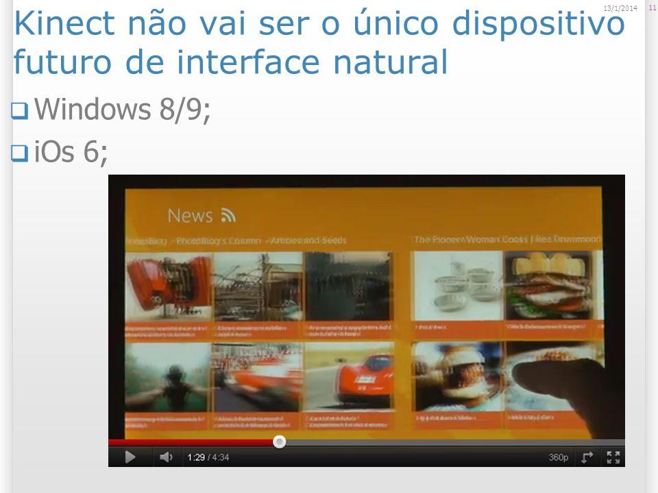 Kinect não vai ser o único dispositivo futuro de interface natural Windows 8/9; iOs 6; 11 13/1/2014