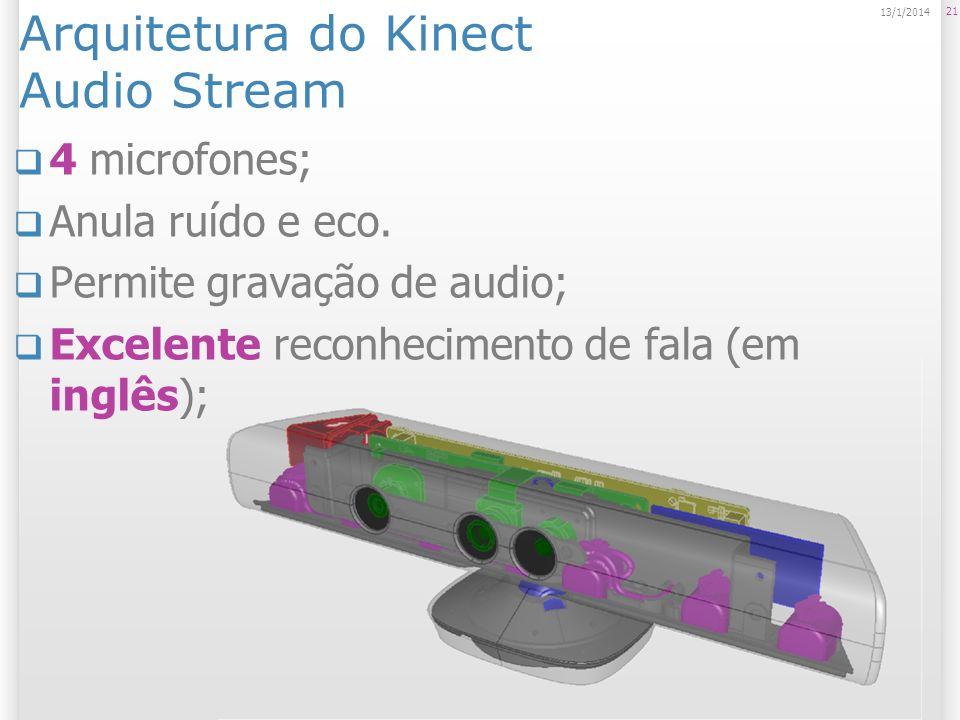 Arquitetura do Kinect Audio Stream 4 microfones; Anula ruído e eco. Permite gravação de audio; Excelente reconhecimento de fala (em inglês); 21 13/1/2
