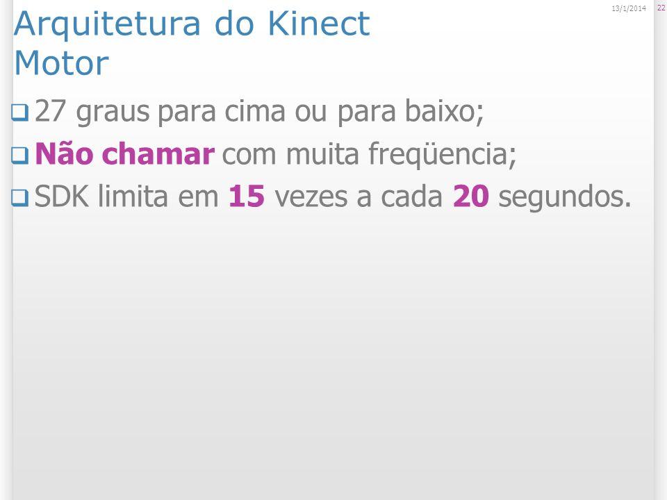 Arquitetura do Kinect Motor 27 graus para cima ou para baixo; Não chamar com muita freqüencia; SDK limita em 15 vezes a cada 20 segundos. 22 13/1/2014