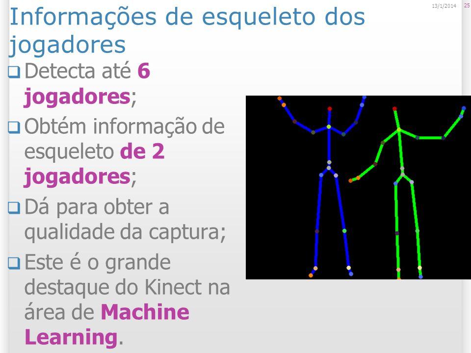 Informações de esqueleto dos jogadores Detecta até 6 jogadores; Obtém informação de esqueleto de 2 jogadores; Dá para obter a qualidade da captura; Es