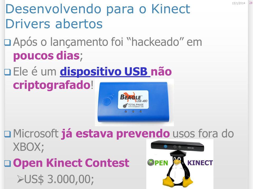 Desenvolvendo para o Kinect Drivers abertos Após o lançamento foi hackeado em poucos dias; Ele é um dispositivo USB não criptografado!dispositivo USB