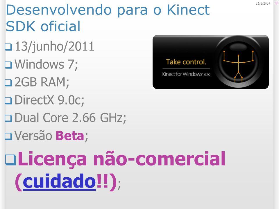 Desenvolvendo para o Kinect SDK oficial 13/junho/2011 Windows 7; 2GB RAM; DirectX 9.0c; Dual Core 2.66 GHz; Versão Beta; Licença não-comercial (cuidad