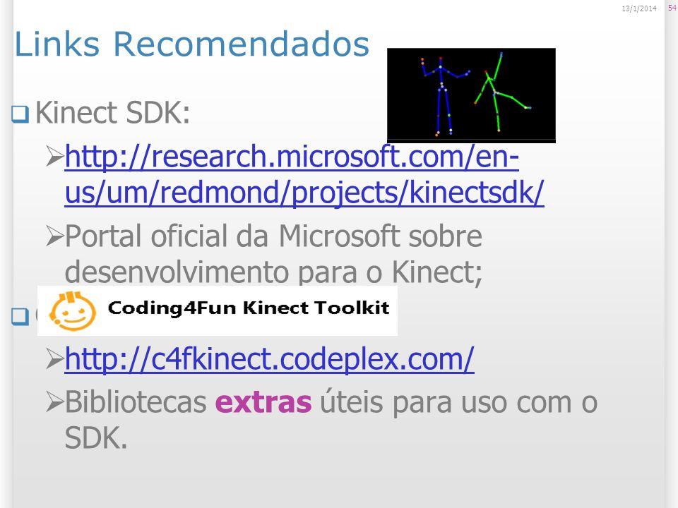 Links Recomendados Kinect SDK: http://research.microsoft.com/en- us/um/redmond/projects/kinectsdk/ http://research.microsoft.com/en- us/um/redmond/pro