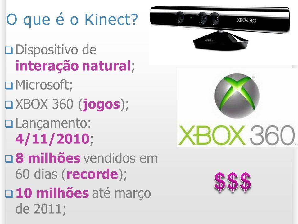 O que é o Kinect? Dispositivo de interação natural; Microsoft; XBOX 360 (jogos); Lançamento: 4/11/2010; 8 milhões vendidos em 60 dias (recorde); 10 mi