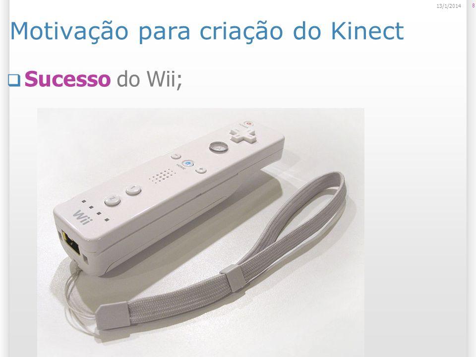 Motivação para criação do Kinect Sucesso do Wii; 8 13/1/2014