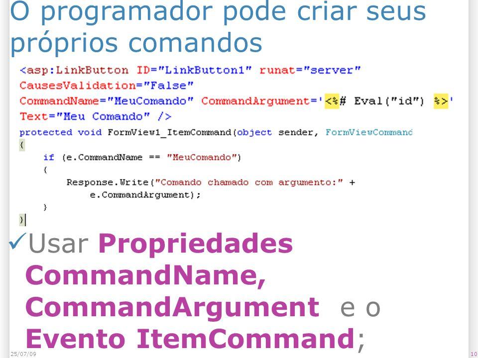 O programador pode criar seus próprios comandos 1025/07/09 Usar Propriedades CommandName, CommandArgument e o Evento ItemCommand;