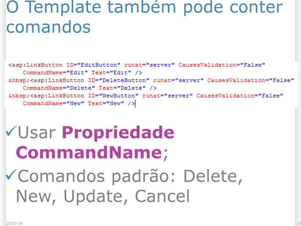 O Template também pode conter comandos 925/07/09 Usar Propriedade CommandName; Comandos padrão: Delete, New, Update, Cancel