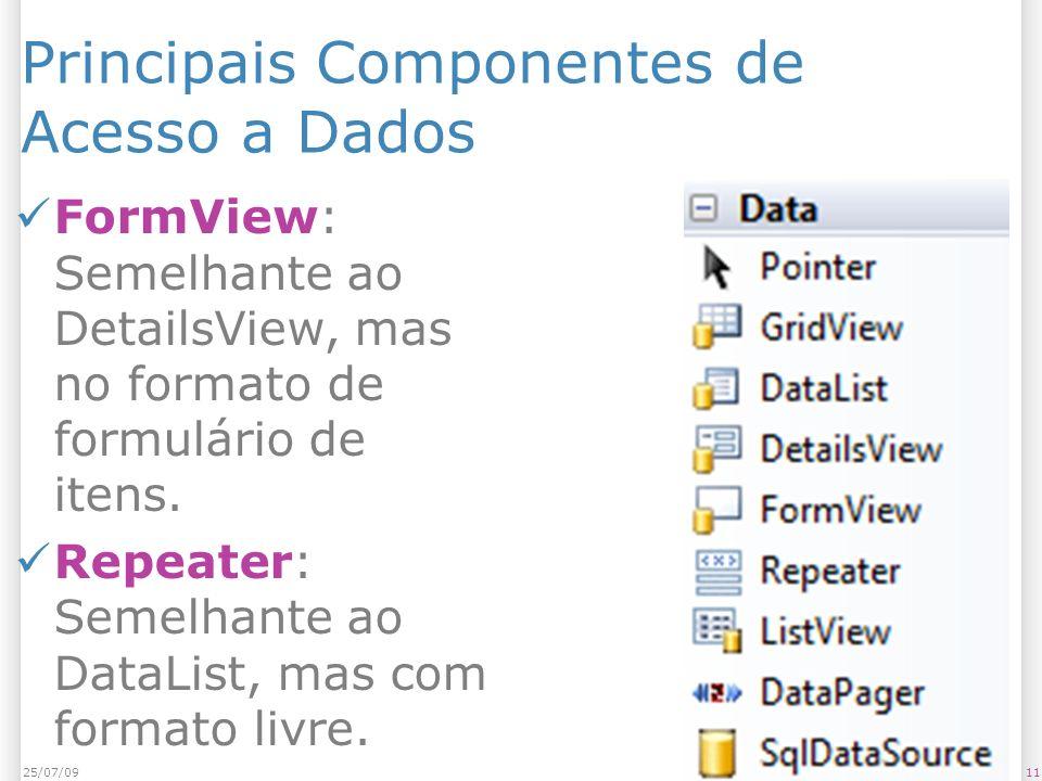 Principais Componentes de Acesso a Dados FormView: Semelhante ao DetailsView, mas no formato de formulário de itens. Repeater: Semelhante ao DataList,