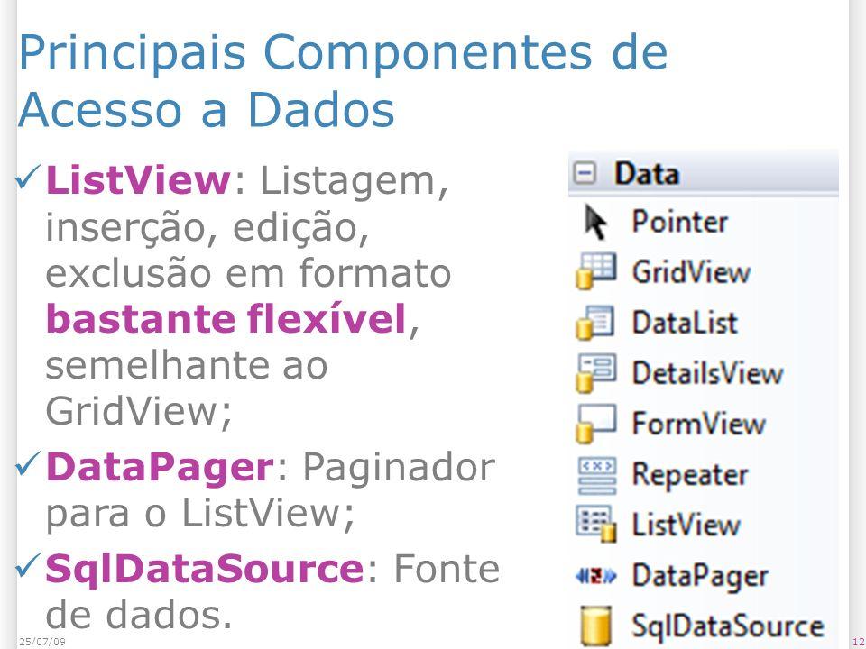 Principais Componentes de Acesso a Dados ListView: Listagem, inserção, edição, exclusão em formato bastante flexível, semelhante ao GridView; DataPage