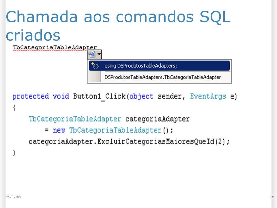 Chamada aos comandos SQL criados 1825/07/09