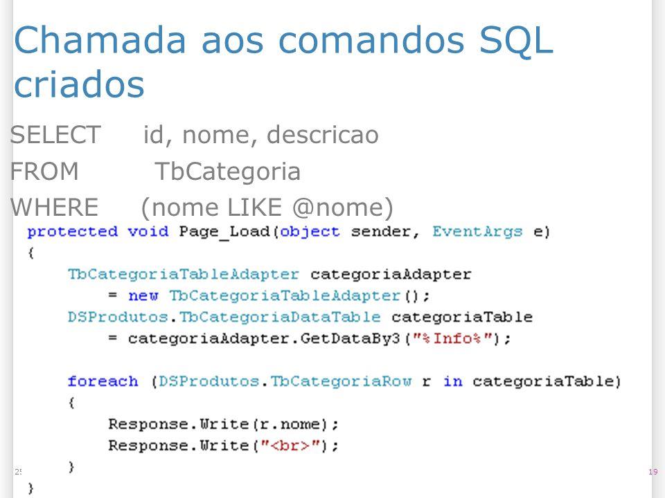 Chamada aos comandos SQL criados 1925/07/09 SELECT id, nome, descricao FROM TbCategoria WHERE (nome LIKE @nome)