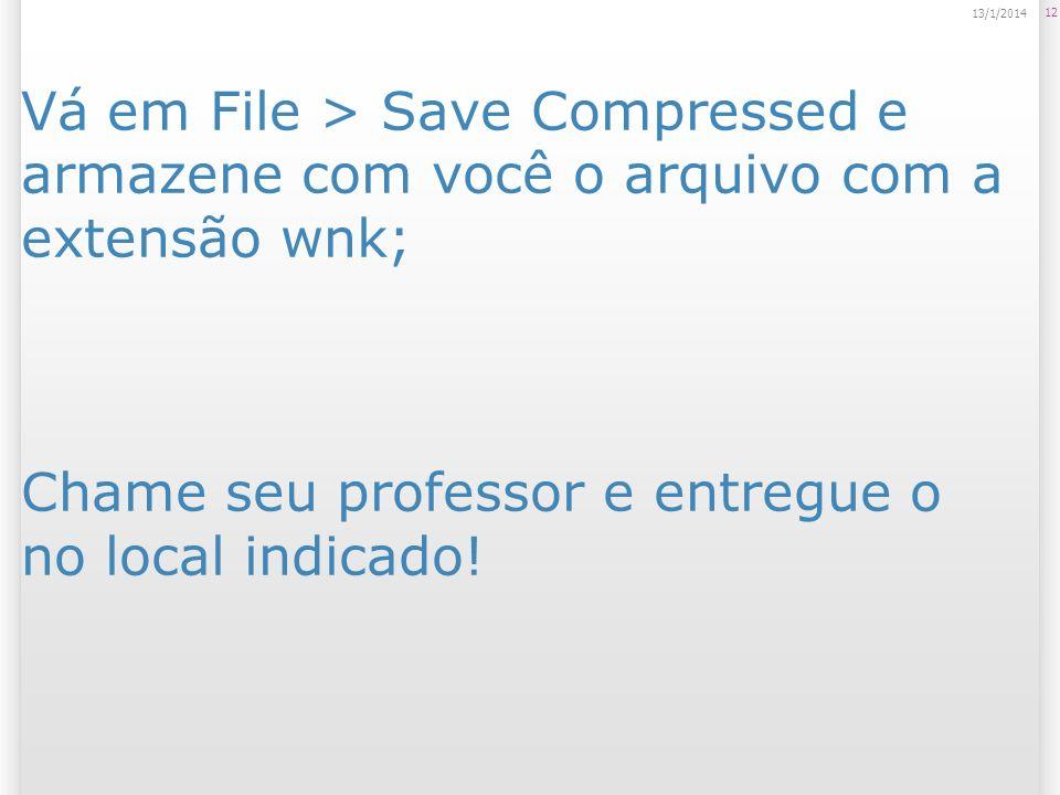 Vá em File > Save Compressed e armazene com você o arquivo com a extensão wnk; Chame seu professor e entregue o no local indicado.