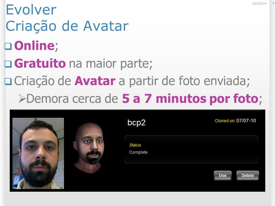 Evolver Criação de Avatar Online; Gratuito na maior parte; Criação de Avatar a partir de foto enviada; Demora cerca de 5 a 7 minutos por foto; 4 13/1/
