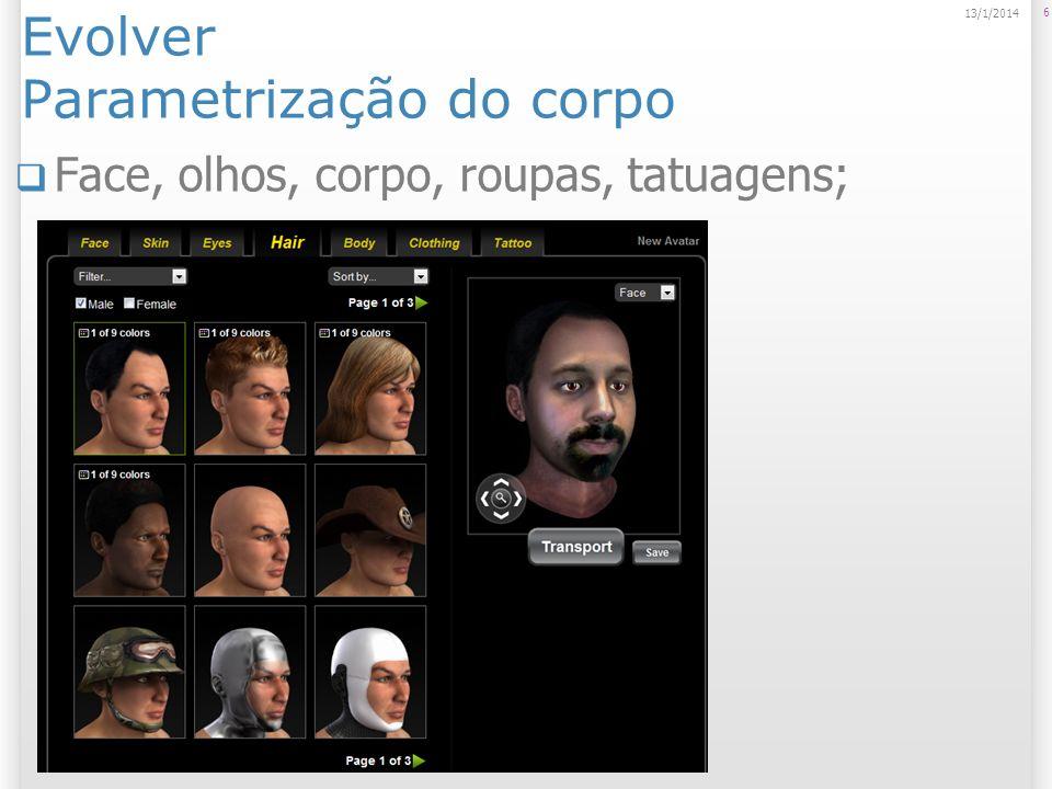 Evolver Parametrização do corpo Face, olhos, corpo, roupas, tatuagens; 6 13/1/2014